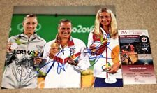 MONICA PUIG ANGELIQUE KERBER PETRA KVITOVA SIGNED 8X10 PHOTO OLYMPICS JSA