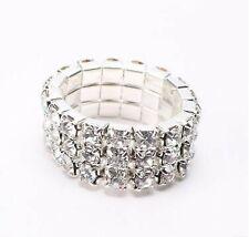Pretty Silver Elastic Stretch Ring Cubic Zirconia Crystals 1 2 3 Rows Gift Charm