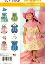 SIMPLICITY SEWING PATTERN TODDLERS DRESS TOP PANTIES HAT 1/2 - 4 1450
