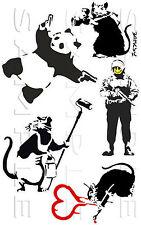 Banksy 04 Sticker Kit, Roller Rat, Pander Smiley Riot Cop