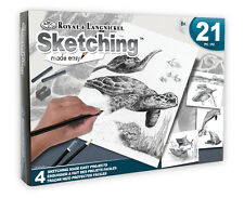 ROYAL LANGNICKEL Sketching Made Easy 21pc Gift Set 4 Designs Sea Life Turtle