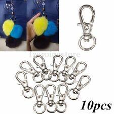 10x Small Silver Tone Lobster Trigger Swivel Clasps Split  Keyring Hook Key Ring