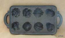 "Cast Iron Muffin Mold Leaves and Fruits and Vegetables 15.5 x 7.5"" John Wright"