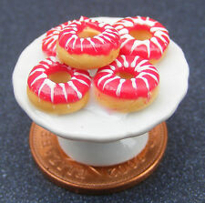 1:12 Scale 3 Orange Cherry Cakes On A Ceramic Plate Tumdee Dolls House PL80