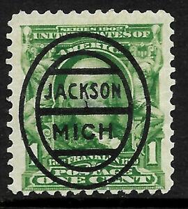 "Sc #300 ""Bold Jackson MICH"" Precancel 1901 Regular 1 Cent Franklin US 18A61"