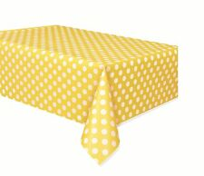 Amarillo de lunares - Mantel plástico - (137cm x 274cm) Topos Fiesta Cumpleaños
