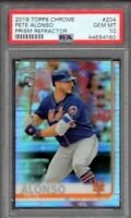2019 Topps Chrome Pete Alonso Prism Refractor #204 Rookie RC- Gem Mint PSA 10