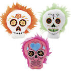 """3 Pack Dog Toys Plush Sugar Skull Squeakers Soft Stuffed Fetcher 7"""" Colors Vary"""