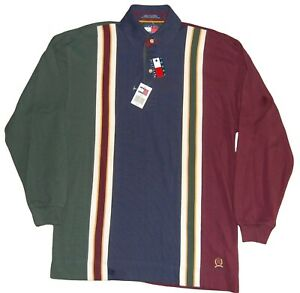Vintage Tommy Hilfiger Striped Colorblock Long Sleeve Polo NWT Men's Small