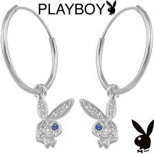 Playboy Earrings Hoop Silver Platinum Plated Swarovski Crystal Bunny Charm Logo