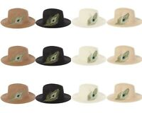 Wholesale lot of 12 Peacock Virginie Straw Hat Embroidered Feather Fedora Panama