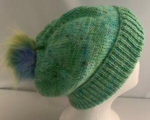 Unisex adult hand-knitted 100% AUS-ALPACA-MERINO WL pom pom sl-beanie sew-ezy au