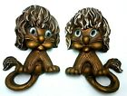 Vtg 1970 Pair of Molded Lion Cat WALL HANGING Universal Statuary Corp Chicago