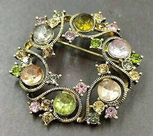 bella spilla vintage americana oro cristalli firma Monet  - vtg signed brooch