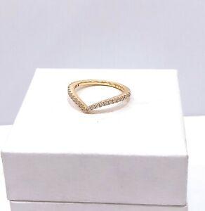 Authentic PANDORA Shine 18K Gold Sparkling Wishbone CZ Stackable Ring 166316CZ