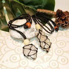 Macrame Crystal Holder Necklace + Clear Quartz