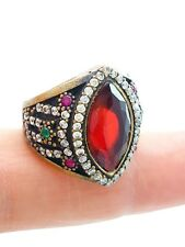 STERLING 925 SILVER SIZE 8 RUBY RING TURKISH HANDMADE JEWELRY DR218