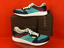 NIB GUCCI BLUE MARINE MULTI COLOR SATIN LACE UP RUNNING SNEAKERS 11 12