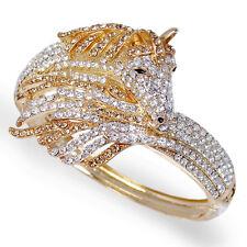 Unique Horse Animal Topaz Austrian Crystal Bracelet Bangle Cuff Gold Tone Women