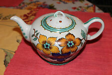 Vintage Musical Pottery Teapot-Lovely Painted Flowers-Bold Colors-Large Teapot