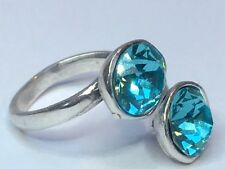 SWAROVSKI ELEMENTS CRYSTAL RING SILVER PLATED TURQUOISE BLUE ADJUSTABLE