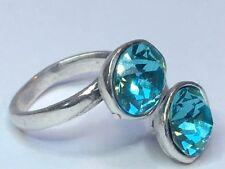 Swarovski Elements Cristal Plateado Plata Anillo Azul turquesa ajustable