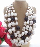 S110211 White Keshi Pearl Necklace White Quartz Druzy Pendant
