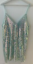 TURQUOISE SEQUIN MINI DRESS M NEW V NECK PARTY GLAM TOWIE IBIZA MARBS PRETTY FIT