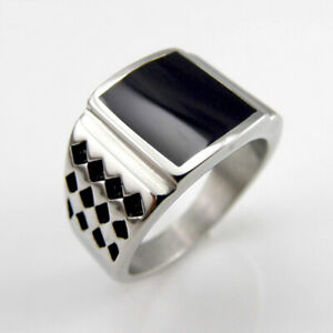 Square Black Onyx 925 Sterling Silver Gothic Handmade Size 9 10 11 12 Mens Ring