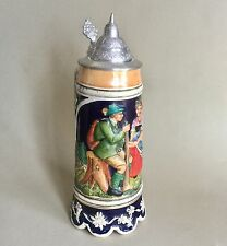 "1950's Thorens Movement Music Box Lidded Beer Stein ""O du Lieber Augustin"""