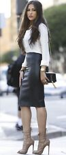 $800 HELMUT LANG PLONGE LEATHER PENCIL SKIRT, SZ 4 BLACK WARDROBE ESSENTIAL!!