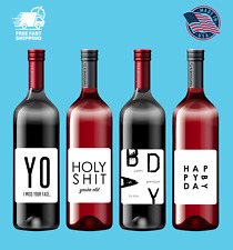 4 Funny Birthday Wine Bottle Stickers Decorations and Party Favors MADE IN USA