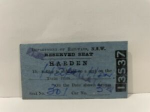 NSWGR Railway Reserved Seat Ticket Harden