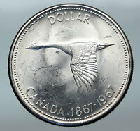 1967 CANADA Confederation Founding OLD Goose Genuine Silver Dollar Coin i85287