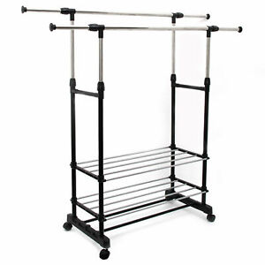 Double Clothes Rail Garment Coat Hanging Display Stand With Shoes Rack & Wheels