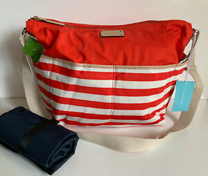 KATE SPADE COLLINS AVENUE SERENA BABY DIAPER BAG PURSE CORAL / CREAM $298 SALE