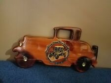 VINTAGE WOOD CAR CLOCK WITH A GREAT LACQUER FINISH***14X7
