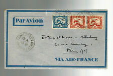 1940 Pnom Penh Cabodia  Airmail Cover to France via Air France  3