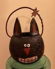 Honey & Me * Primitive Black Cat Candle Holder