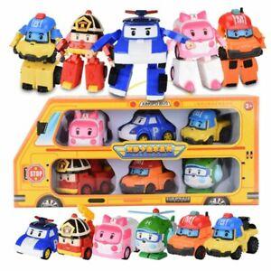 6Pcs Robocar Poli Roy Amber Robot Action Figures Car Bus Toy Set Gifts