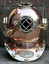 Vintage Scuba Copper Brass US Navy Mark V Antique Diving Divers Helmet Full Size