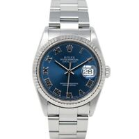 Rolex Datejust Steel & White Gold Blue Index Dial 16234 Oyster - WATCH CEST