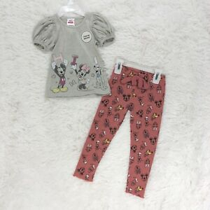 Disney Junior Minnie 3T Two Piece Outfit All Over Print Pants Set Mickey Pluto