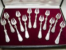 Puiforcat - 12 fourchettes à huîtres argent massif Minerve 1er titre 293g