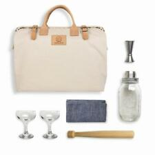 The W&P Cocktail Kit - Canvas and Leather Carrying Case, Mason Jar Shaker
