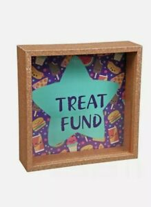 """TREAT FUND"" MONEY BOX BANK / GLASS FACE / GIFT IDEA / BRAND NEW SEALED!"