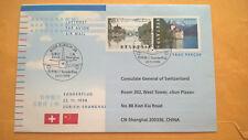 Schweiz 1998 Ganzsache Sonderflug Zürich Shanghai mit Ankunftsstempel