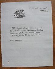 PICQUOT DE MAGNY,DE RAPILLY,DE TREPEL, 6 AVRIL 1813, FAIRE-PART ORIGINAL MARIAGE