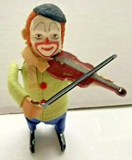 Vintage Schuco Wind Up Toy Solisto Clown Playing Violin Green/Blue Germany Works