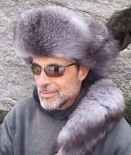 """New Style """"Mountain Man""""  REAL CRYSTAL SILVER FOX FUR HAT.for men & women"""